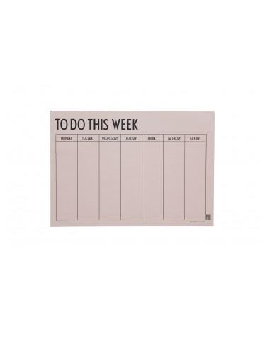 Planer tygodniowy różowy Design Letter. Planer do biura, planer do domu