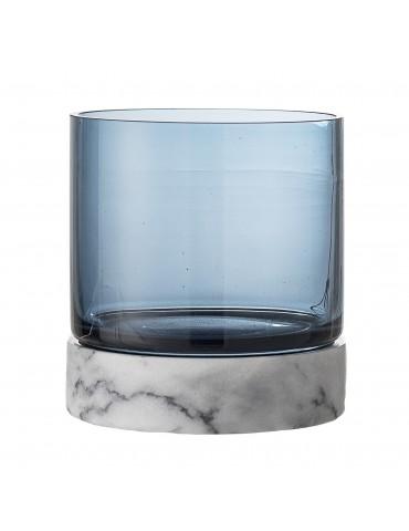 Świecznik szklany z marmurową podstawa