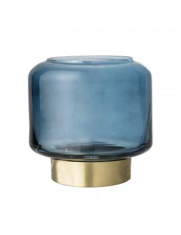 Niebieski szklany świecznik marki Bloomingville