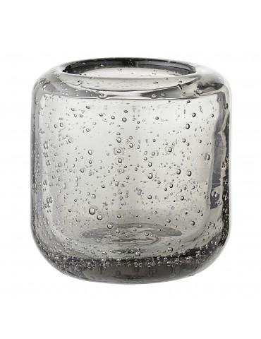 Świecznik szary szklany Bloomingville