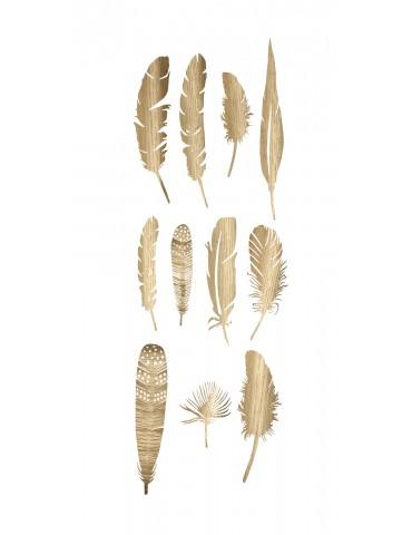 ozdobne złote pióra