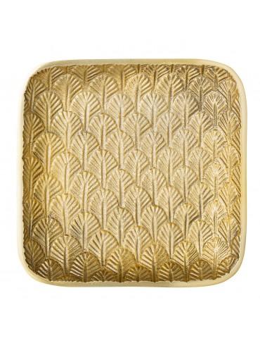 Złota kwadratowa taca dekoracyjna Veo Bloomingville
