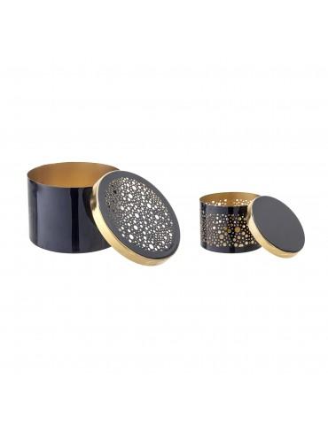 Dekoracyjne granatowe pudełka z metalu Bloomingville