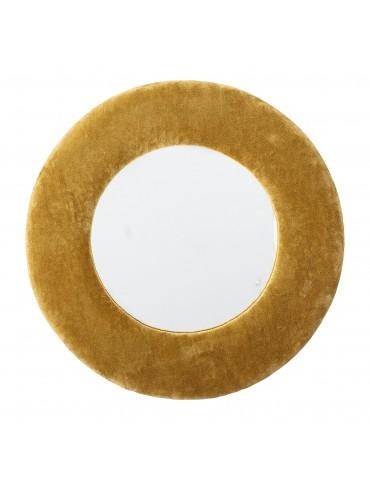 lustro okrągłe w żółtej ramie