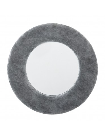 lustro okrągłe w szarej ramie