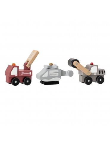 Zestaw drewnianych pojazdów dla dzieci