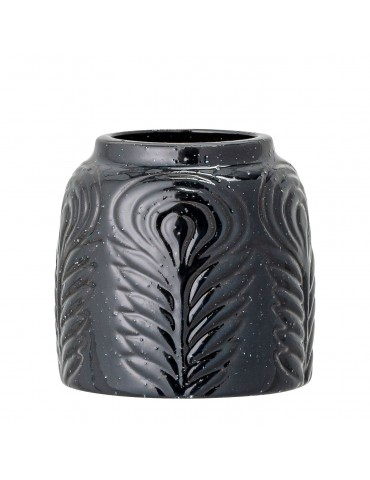 Czarny wazon z motywem kwiatowym