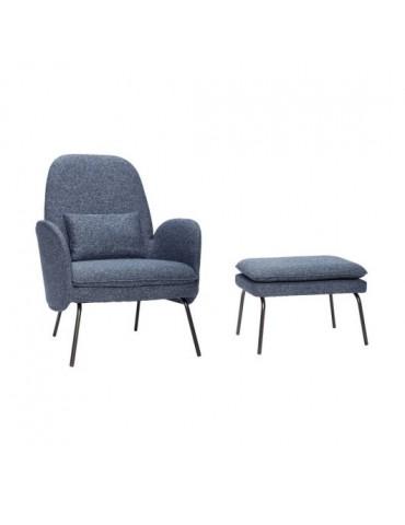 Fotel z podnóżkiem niebieski Hubsch