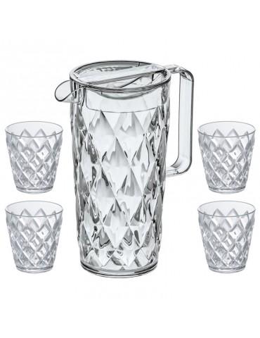 Zestaw dzbanek i 4 szklanki Crystal marki Koziol