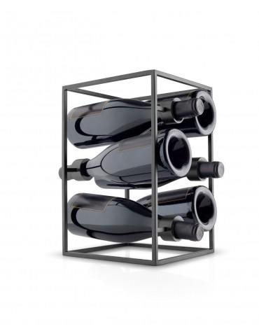 Stojak na wino metalowy czarny